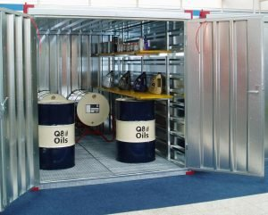 3m COSHH Store Container with Bunded Floor & Double Side Doors